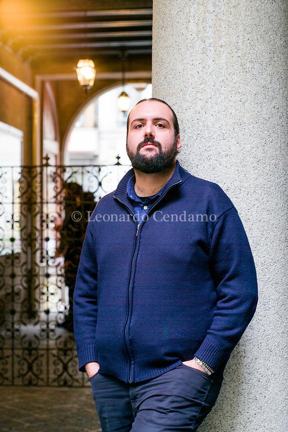 Andrea Bonaera; è uno scrittore italiano; libri; cultura italiana. Milano Book City 17 novembre 2019. Photo by Leonardo Cendamo