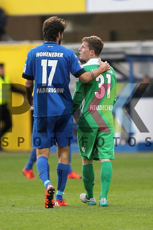 Muenchens Richard Neudecker (Nr.31) und Paderborns Niklas Hoheneder (Nr.17)  beim Spiel in der 2. Bundesliga SC Paderborn - TSV 1860 Muenchen.<br /> <br /> Foto &copy; PIX-Sportfotos *** Foto ist honorarpflichtig! *** Auf Anfrage in hoeherer Qualitaet/Aufloesung. Belegexemplar erbeten. Veroeffentlichung ausschliesslich fuer journalistisch-publizistische Zwecke. For editorial use only.