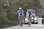 The breakaway group, Marco Frapporti (ITA) Androni Giocattoli, Angelo Pagani (ITA) Bardiani CSF, Davide Frattini (ITA) United Healthcare and Andrea Fedi (ITA) Yellow Fluo, tackle the 1st sector of strade at Pian del Lago during the 2014 Strade Bianche race over the white dusty gravel roads of Tuscany running from San Gimignano to Siena, Italy. 8th March 2014.<br /> Picture: Eoin Clarke www.newsfile.ie