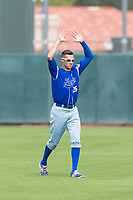 Team Italy outfielder Sebastiano Poma (26) warms up before an exhibition game against the Oakland Athletics at Lew Wolff Training Complex on October 3, 2018 in Mesa, Arizona. (Zachary Lucy/Four Seam Images)