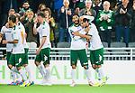 Stockholm 2014-09-21 Fotboll Superettan Hammarby IF - Syrianska FC :  <br /> Hammarbys Pablo Pinones-Arce gratulerar Lars Mendonca Fuhre till 2-0 m&aring;let<br /> (Foto: Kenta J&ouml;nsson) Nyckelord:  Superettan Tele2 Arena Hammarby HIF Bajen Syrianska FC SFC jubel gl&auml;dje lycka glad happy