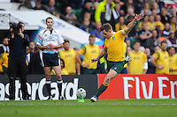 Bernard Foley of Australia takes a penalty kick during the Quarter Final of the Rugby World Cup 2015 between Australia and Scotland - 18/10/2015 - Twickenham Stadium, London<br /> Mandatory Credit: Rob Munro/Stewart Communications