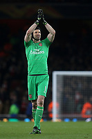 Arsenal goalkeeper, Petr Cech, celebrates their 2-0 victory at the final whistle during Arsenal vs Napoli, UEFA Europa League Football at the Emirates Stadium on 11th April 2019