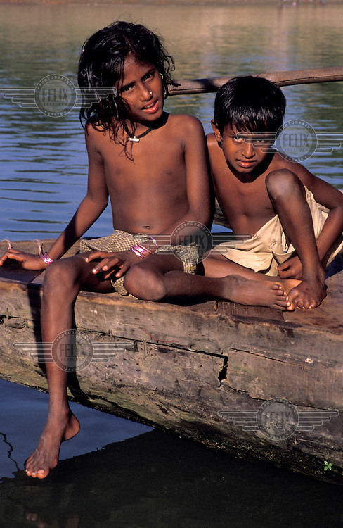 Children on a boat.