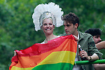 Spanish singer Soraya (l) with her boyfriend Miguel Herrera during the demonstration of World Pride Madrid 2017. July 1, 2017. (ALTERPHOTOS/Acero)