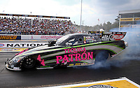 Oct 4, 2013; Mohnton, PA, USA; NHRA funny car driver Alexis DeJoria during qualifying for the Auto Plus Nationals at Maple Grove Raceway. Mandatory Credit: Mark J. Rebilas-