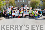 Concerned residents from Ballinahulla with the Slieve Luchra Wind Awareness Group protesting at the Kerry County Council offices on Monday morning.