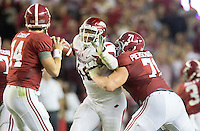 NWA Democrat-Gazette/JASON IVESTER <br /> Arkansas defensive lineman Deatrich Wise Jr. (48) tries to pressure Alabama quarterback Jake Coker (14) during the third quarter on Saturday, Oct. 10, 2015, at Bryant-Denny Stadium in Tuscaloosa, Ala.