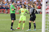 Houston, TX - Sunday Oct. 09, 2016: Matthew Franz, Sabrina D'Angelo, Kelsey Wys during the National Women's Soccer League (NWSL) Championship match between the Washington Spirit and the Western New York Flash at BBVA Compass Stadium. The Western New York Flash win 3-2 on penalty kicks after playing to a 2-2 tie.