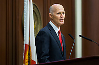 TALLAHASSEE, FLA. 3/7/17-Gov. Rick Scott gives the State of the State address during opening day of the legislative session at the Capitol in Tallahassee.<br /> <br /> COLIN HACKLEY PHOTO