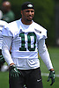 Jermaine Kearse #10 of the New York Jets stretches during team practice at the Atlantic Health Jets Training Center in Florham Park, NJ on Saturday, July 28, 2018.