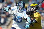 06 February 2016: North Carolina's Timmy Kelly (15) and Michigan's Chris Walker (24). The University of North Carolina Tar Heels hosted the University of Michigan Wolverines in a 2016 NCAA Division I Men's Lacrosse match. UNC won the game 20-10.
