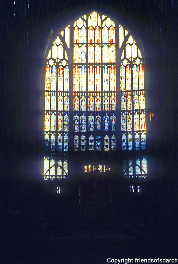 Gloucester: Gloucester Cathedral--Great Eastern window, commemorating the Victory at Crecy, 1346. Photo '90.