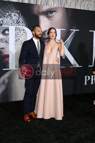 "Jamie Dornan, Dakota Johnson<br /> at the ""Fifty Shades Darker"" World Premiere, The Theater at Ace Hotel, Los Angeles, CA 02-02-17<br /> David Edwards/DailyCeleb.com 818-249-4998"