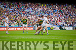 Barry John Keane, Kerry in action against Ciaran Fitzpatrick and Mick O'Grady,  Kildare in the All Ireland Quarter Final at Croke Park on Sunday.