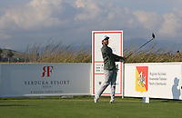 Joel Stalter (FRA) on the 14th tee during Round 1 of the Rocco Forte Sicilian Open 2018 on Thursday 5th May 2018.<br /> Picture:  Thos Caffrey / www.golffile.ie<br /> <br /> All photo usage must carry mandatory copyright credit (&copy; Golffile | Thos Caffrey)