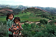 September, 1985. Shaanxi Province, China. Children of farmers in the area of Wuqi.