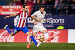 Gareth Bale of Real Madrid fights for the ball with Juanfran of Atletico de Madrid during their La Liga match between Atletico de Madrid and Real Madrid at the Vicente Calderón Stadium on 19 November 2016 in Madrid, Spain. Photo by Diego Gonzalez Souto / Power Sport Images