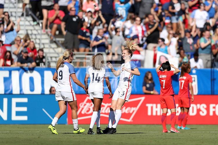 Cary, NC - Sunday October 22, 2017: Samantha Mewis celebrates her second goal during an International friendly match between the Women's National teams of the United States (USA) and South Korea (KOR) at Sahlen's Stadium at WakeMed Soccer Park.