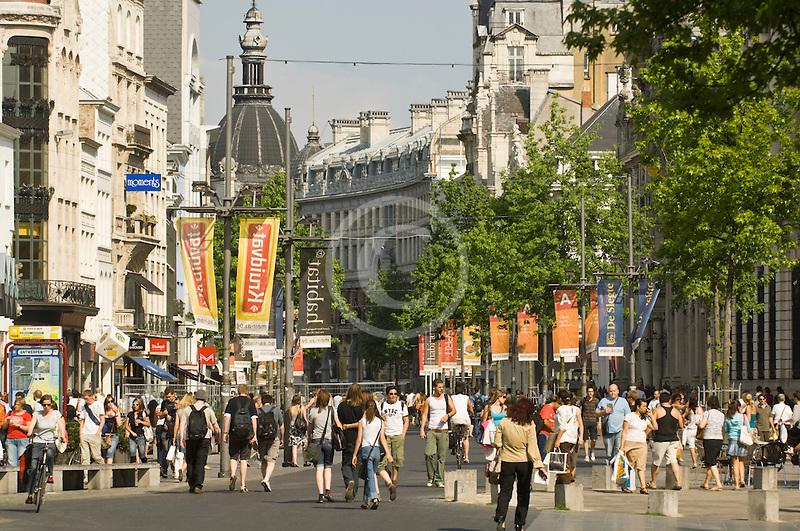 Belgium, Antwerp, Meir, main shopping street
