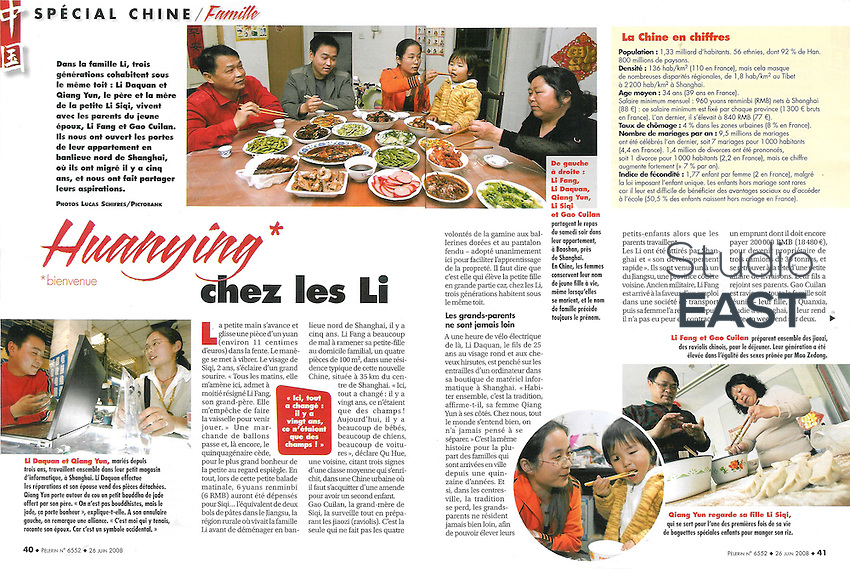 5-page reportage in weekly magazine Pelerin (France), on June 28, 2008. Photos by Lucas Schifres/Pictobank