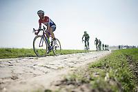 Sebastian Langeveld (NLD/Cannondale-Garmin) over the cobbles <br /> <br /> 2015 Paris-Roubaix recon