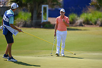 Emiliano Grillo (ARG) looks over his putt on 17 with his caddie during Round 2 of the Zurich Classic of New Orl, TPC Louisiana, Avondale, Louisiana, USA. 4/27/2018.<br /> Picture: Golffile | Ken Murray<br /> <br /> <br /> All photo usage must carry mandatory copyright credit (&copy; Golffile | Ken Murray)