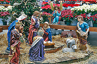 Nativity scene and poinsettias. Al's Nursery. Sherwood. Oregon