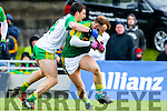 Barry John Keane, Kerry, in action against Paddy McGrath, Donegal, in the national Football League, Division 1, Round 4, at Austin Stack Park, Tralee on Sunday.