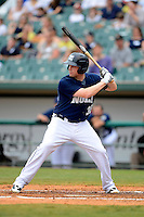 New Orleans Zephyrs first baseman Jordan Brown #35 during a game against the Round Rock Express on April 15, 2013 at Zephyr Field in New Orleans, Louisiana.  New Orleans defeated Round Rock 3-2.  (Mike Janes/Four Seam Images)