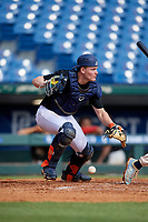 Tayden Hall (21) of Steinbrenner High School in Lutz, FL during the Perfect Game National Showcase at Hoover Metropolitan Stadium on June 18, 2020 in Hoover, Alabama. (Mike Janes/Four Seam Images)
