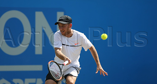 June 18th 2017, Nottingham, England; ATP Aegon Nottingham Open Tennis Tournament day 7 finals day;  Dudi Sela of Israel on his way to victory over Thomas Fabbiano of Italy in the mens singles final