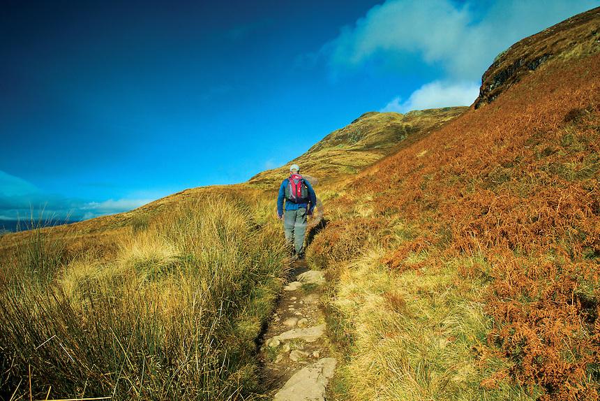 Climbing Ptarmigan Ridge, Ben Lomond, Loch Lomond and the Trossachs National Park, Stirlingshire