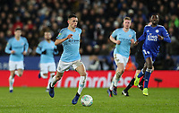 Manchester City's Phil Foden breaks<br /> <br /> Photographer Andrew Kearns/CameraSport<br /> <br /> English League Cup - Carabao Cup Quarter Final - Leicester City v Manchester City - Tuesday 18th December 2018 - King Power Stadium - Leicester<br />  <br /> World Copyright © 2018 CameraSport. All rights reserved. 43 Linden Ave. Countesthorpe. Leicester. England. LE8 5PG - Tel: +44 (0) 116 277 4147 - admin@camerasport.com - www.camerasport.com