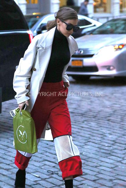 www.acepixs.com<br /> <br /> February 13 2017, New York City<br /> <br /> Model Gigi Hadid arrives back at her East Village apartment on February 13 2017 in New York City<br /> <br /> By Line: Zelig Shaul/ACE Pictures<br /> <br /> <br /> ACE Pictures Inc<br /> Tel: 6467670430<br /> Email: info@acepixs.com<br /> www.acepixs.com