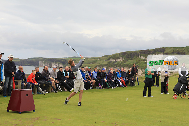 Sean Flanagan (Co. Sligo) on the 6th tee during the Final (Matchplay) in the North of Ireland Amateur Open Championship sponsored by Cathedral Eye Clinic at Portrush Golf Club, Portrush on Friday 15th July 2016.<br /> Picture:  Thos Caffrey / www.golffile.ie