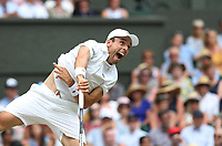 Roberto Bautista Agut (ESP) during his match against Novak Djokovic (SRB) in their Gentleman's Singles Semi-Final match<br /> <br /> Photographer Rob Newell/CameraSport<br /> <br /> Wimbledon Lawn Tennis Championships - Day 11 - Friday 12th July 2019 -  All England Lawn Tennis and Croquet Club - Wimbledon - London - England<br /> <br /> World Copyright © 2019 CameraSport. All rights reserved. 43 Linden Ave. Countesthorpe. Leicester. England. LE8 5PG - Tel: +44 (0) 116 277 4147 - admin@camerasport.com - www.camerasport.com