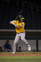 AZL Athletics third baseman Jordan Diaz (10) at bat during an Arizona League game against the AZL Cubs 1 at Sloan Park on June 28, 2018 in Mesa, Arizona. The AZL Athletics defeated the AZL Cubs 1 5-4. (Zachary Lucy/Four Seam Images)