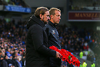 Norwich City manager Daniel Farke and Brighton & Hove manager Graham Potter with poppy wreaths ahead of Brighton & Hove Albion vs Norwich City, Premier League Football at the American Express Community Stadium on 2nd November 2019