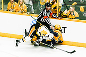 June 5th 2017, Nashiville, TN, USA;  Pittsburgh Penguins center Matt Cullen (7) collides with Nashville Predators center Filip Forsberg (9) during game 4 of the 2017 NHL Stanley Cup Finals between the Pittsburgh Penguins and Nashville Predators