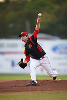Batavia Muckdogs starting pitcher Sean Guenther (39) delivers a warmup pitch during a game against the Mahoning Valley Scrappers on September 5, 2017 at Dwyer Stadium in Batavia, New York.  Mahoning Valley defeated Batavia 4-3.  (Mike Janes/Four Seam Images)