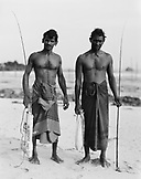SRI LANKA, Asia, portrait of fishermen with fishing rods at Allangama (B&W)