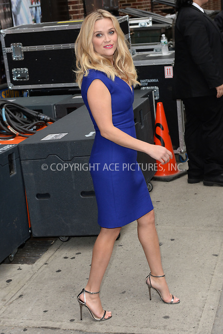 WWW.ACEPIXS.COM <br /> May 5, 2015 New York City<br /> <br /> Reese Witherspoon after taping an appearance on the Late Show with David Letterman on May 5, 2015 in New York City.<br /> <br /> Please byline: Kristin Callahan/ACE Pictures  <br /> <br /> ACEPIXS.COM<br /> Ace Pictures, Inc<br /> tel: (212) 243 8787 or (646) 769 0430<br /> e-mail: info@acepixs.com<br /> web: http://www.acepixs.com