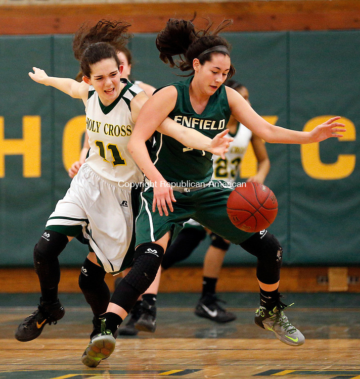 Waterbury, CT- 10 March 2015-031015CM12-  Holy Cross' Kaitlyn Grimshaw, left, and Enfield's Danielle Delano go after the ball during their state tournament matchup in Waterbury on Tuesday.   Cross fell to Enfield, 45-38. Christopher Massa Republican-American