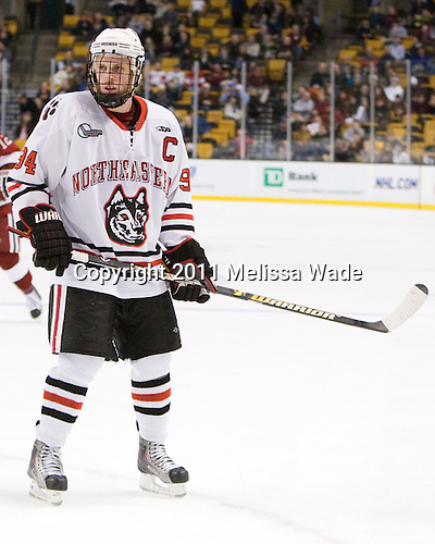 Tyler McNeely (Northeastern - 94) - The Northeastern University Huskies defeated the Harvard University Crimson 4-0 in their Beanpot opener on Monday, February 7, 2011, at TD Garden in Boston, Massachusetts.