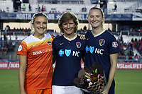 Cary, North Carolina  - Saturday September 09, 2017: Melissa Mewis, Kristie Mewis, Samantha Mewis during a regular season National Women's Soccer League (NWSL) match between the North Carolina Courage and the Houston Dash at Sahlen's Stadium at WakeMed Soccer Park.