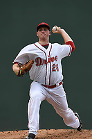 Starting pitcher Jay Groome (28) of the Greenville Drive delivers a pitch in a game against the Hickory Crawdads on Sunday, July 16, 2017, at Fluor Field at the West End in Greenville, South Carolina. Hickory won, 3-1. (Tom Priddy/Four Seam Images)
