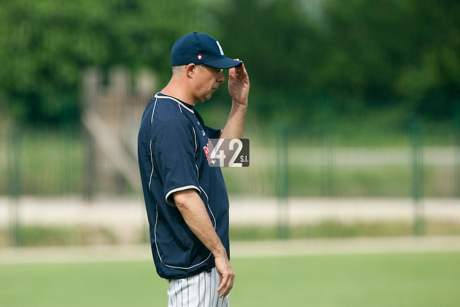 21 May 2009: Team Manager Francois Colombier of Rouen is seen during the 2009 challenge de France, a tournament with the best French baseball teams - all eight elite league clubs - to determine a spot in the European Cup next year, at Montpellier, France.