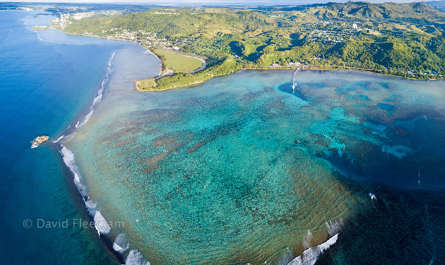 An aerial panorama of Piti Bay, Fisheye Marine Park and the War in the Pacific National Historical Park, Guam, Micronesia, US Territory, Central Pacific Ocean.