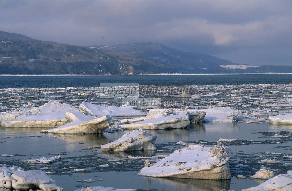 Amérique/Amérique du Nord/Canada/Quebec/Ile-aux-Coudres : Le Saint-Laurent pris par les glaces